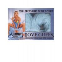Голубые меховые наручники «LOVE CUFFS»