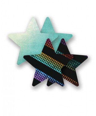 Голубые пэстис-звездочки и пара неоновых пэстис-звездочек в полоску