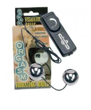 Вагинальные шарики серебристого цвета с вибратором