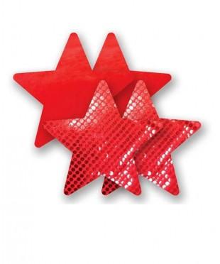 Алые пэстис-звездочки с блестками и красные с гладкой поверхностью