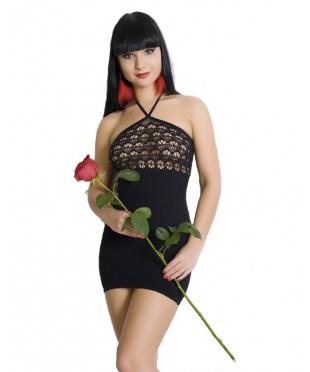 Бесшовное черное платье с ажурным верхом