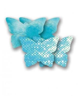 Голубые пэстис «Бабочки» с блестками и пара пэстис с кружевной поверхностью