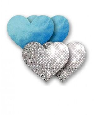 Голубые пэстис-сердечки и пара серебристых пэстис-сердечек с блёстками
