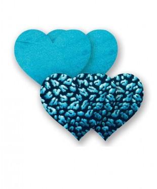 Бирюзовые пэстис-сердечки и пары черных пэстис с леопардовым принтом