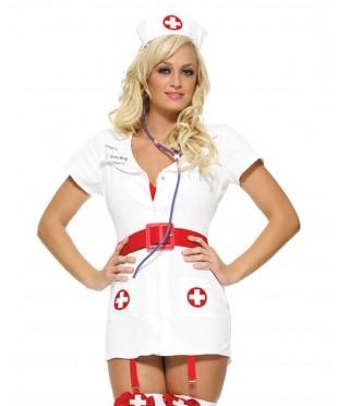 Белый костюм похотливой медсестры