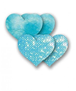 Голубые пэстис «Сердечки» с блестками и пара пэстис с кружевной поверхностью